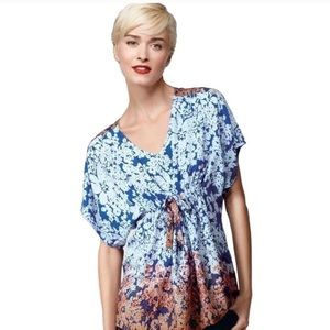 Boho blue floral tunic/top